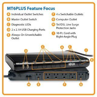 Tripp Lite MT 6PLUS Under Monitor Isobar Surge Protector 6 Outlet, 8 Foot Cord, 3150 Jls (MT6+) Electronics