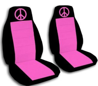2000 VW Beetle car seat covers. 2 black and hot pink seat covers, with a hot pink peace sign. If you have side airbags please notify us: Automotive