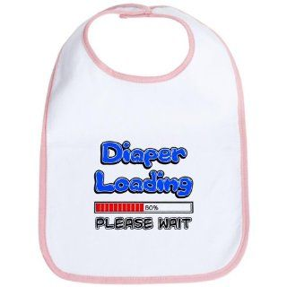 Baby Bib Petal Pink Diaper Loading Please Wait Baby Humor : Baby