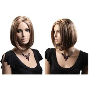 Short Straight Bob Wigs Charming European and American Style Secondary Color For Women : Hair Replacement Wigs : Beauty