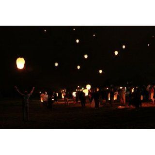 (50) White Paper Chinese Lanterns Sky Fly Candle Lamp for Wish Party Wedding: Home Improvement