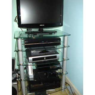Walker Edison Multi Level Component Stand, Black   Television Stands