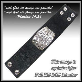 "Inspirational Leather Bracelet. ""With God All Things Are Possible"" "" with God All Things Are Possible."" Matthew 19:26. ""Fashion Leather Cross Bracelet. Size 1.6"" H X 7.5"" W.: Jewelry"