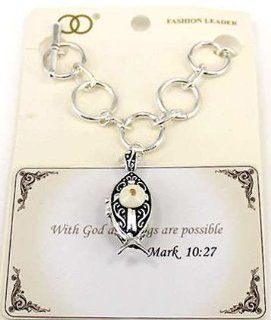 "Matthew 19:26 Cross with Mustard seed Fish Filigree Engraved Fish Magnetic Box with Prayer Meassage inside Box Toggle Bracelet In a Gift Box with Prayer Card by Jewelry Nexus "" With god all things are possible"": Jewelry Nexus: Jewelry"