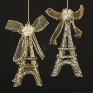 Platinum And Gold Glitter With Bow Eiffel Tower Ornament Set Of 2   Decorative Hanging Ornaments