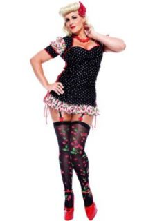 Paper Magic Womens French Kiss Pin up Girl Plus Size Costume, Black/Red, X Large: Clothing