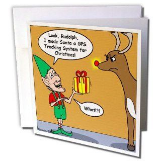 gc_3087_2 Rich Diesslins Funny Christmas Cartoons   Elf and Rudolph GPS Present   Greeting Cards 12 Greeting Cards with envelopes : Blank Greeting Cards : Office Products