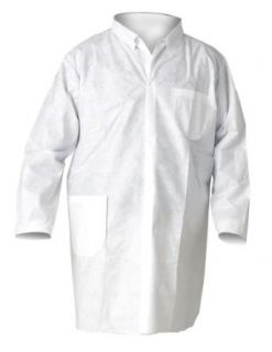 Kimberly Clark KleenGuard A20 SMS Fabric Breathable Particle Protection Lab Coat with Chest and Hip Pocket, Medium, White (Pack of 25): Protective Lab Coats And Jackets: Industrial & Scientific