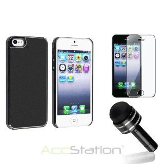 NEW YEAR !!! Bargain 2014 deal Frost leather/Aluminum Snap on Hard Case+Protector+Pen for iPhone 5 5S 5th Gen PlEASE CHOOSE 1 COLOR: Cell Phones & Accessories