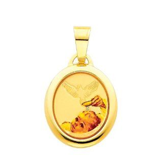 14K Yellow Gold Religious Baptism Enamel Picture Charm Pendant: The World Jewelry Center: Jewelry