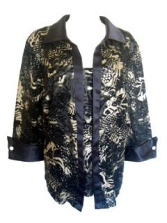 R&M RICHARDS Women's Plus Size Jacquard Lace Twinset Blouse/Jacket Top BLACK/GOLD 24W at  Women�s Clothing store: