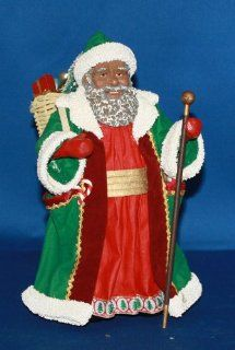 Possible Dreams� ClothtiqueTM Christmas is for Children African American Santa With Green Robe and Walking Stick #713115   Holiday Figurines