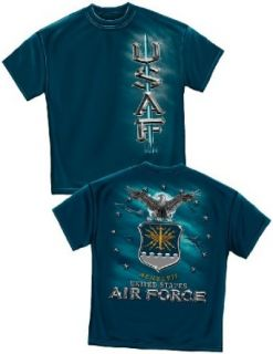 Air Force Military Branch Bold Front/Back Emblem Proud T Shirt: Clothing