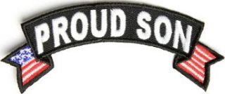 "Embroidered Iron On Patch   Proud Son USA American Flag Patch 4"" x 1.5"" Patch: Clothing"