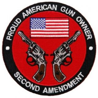 Proud American Gun Owner Second Amendment Embroidered Patch Revolver Version: Clothing