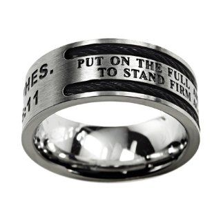 "Christian Mens Stainless Steel 10mm Abstinence Black Cable ""Put on the Full Armor of God, to Stand Firm Against the Schemes of the Devil"" Ephesians 6:11 Cable Black Enamel Comfort Fit Chastity Ring for Boys   Guys Purity Ring: Jewelry"