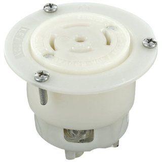 Leviton 3525 C 20 Amp, 250 Volt, 10 Amp 600 Volt AC, 4P, 5W, Non NEMA, Locking Flanged Outlet, Grounding, Industrial Grade, White   Electric Plugs