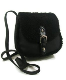 Material Girl By Madonna Women's Black Sherpa Trim Cross Body Handbag Purse: Shoes