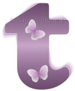 """t"" Purple Butterfly Alphabet Letter Name Initial Wall Sticker   Decal Letters for Children's, Nursery & Baby's Room Decor, Baby Name Wall Letters, Girls Bedroom Wall Letter Decorations, Child's Names. Butterflies Mural Walls Deca"