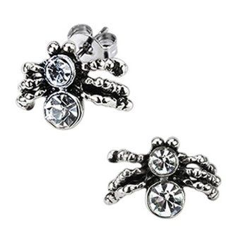 High Polished Surgical Stainless Steel Spider Stud Earring with Double Simulated Diamonds (Friction Style Post)   Crazy2Shop: Jewelry