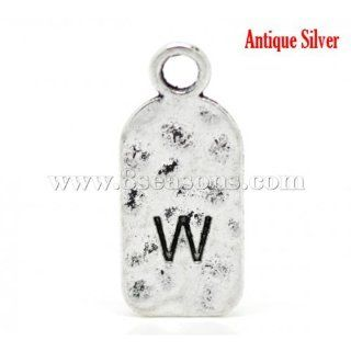 "Antique Silver Alphabet/ Letter ""W"" Tag Pendants 27x12mm1 1/8""x1/2"""