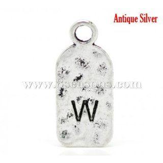 """Antique Silver Alphabet/ Letter """"W"""" Tag Pendants 27x12mm1 1/8""""x1/2"""""""