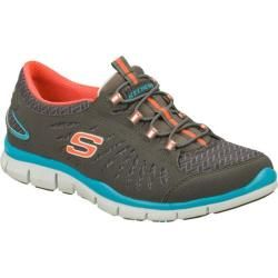 Women's Skechers Gratis In Motion Gray/Orange Skechers Slip ons