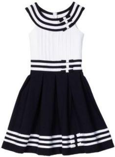 Bonnie Jean Girls 7 16 Nautical Dress with Tucked Bodice, Navy, 7 Playwear Dresses Clothing