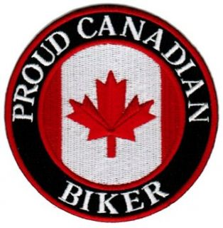 Proud Canadian Biker Embroidered Patch Canada Flag Iron On Motorcycle Emblem: Clothing