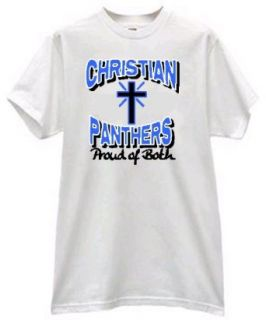 Christian Panthers Proud of Both Spiritual Belief Football Fan T Shirt: Clothing