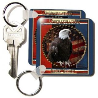 Proud Eagle with Stars Congratulations Eagle Scout   Set Of 2 Key Chains Clothing