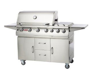 Bull Outdoor Products 28368 47 Inch 7 Burner Premium Stainless Steel Gas Barbecue Cart with Built in Dual Sideburner and Infrared Back Burner, Liquid Propane : Built In Grills : Patio, Lawn & Garden