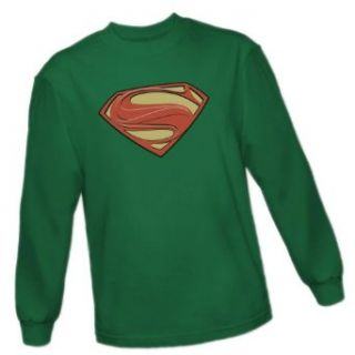 Solid Superman Shield    Man of Steel Movie Adult Long Sleeve T Shirt: Movie And Tv Fan T Shirts: Clothing