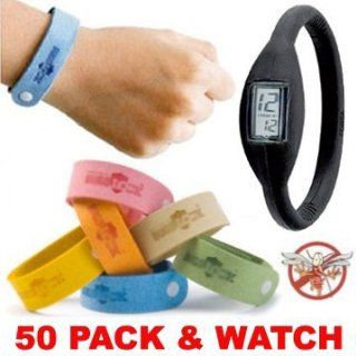 50 (FIFTY) PACK Mosquito Bracelets. PLUS ION WATCH   Wholesale Lot of Bugs Mosquito repellent citronella wrist band bracelets. Repels mosquitoes quickly Health & Personal Care