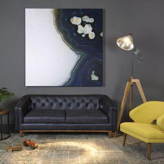 Natty Black Button tufted Leather Sofa Sofas & Loveseats