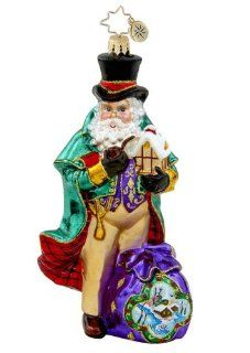 RADKO QUITE THE DICKENS Santa Merry England Glass Ornament   Decorative Hanging Ornaments