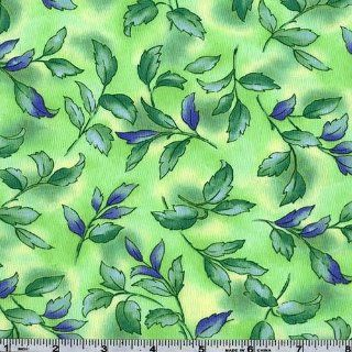 45'' Wide Kimiko's Watercolors Petal Green Fabric By The Yard