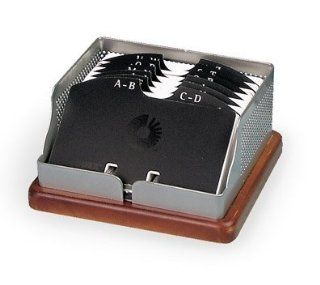 Rolodex Punched Metal & Wood Business Card File, 125 2 1/4 Inches x 4 Inches card capacity (L22791)
