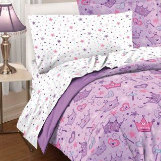 Purple Princess Hearts and Crowns Comforter Set   Girls Bed Sheet With Stars
