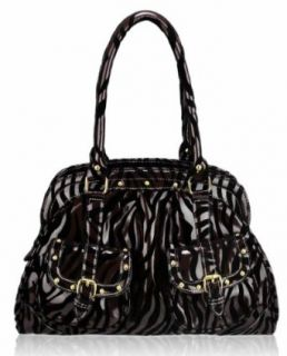 "Brown Patent Zebra Animal Print Tote Trendy Everyday Ladies Designer Handbag (15"" x 10"") with PreciousBags Dust Bag: Shoes"