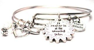 I'd Rather Be At the Tanning Salon Adjustable Wire Bangle Charm Bracelet: Jewelry