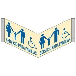 ADA Family Restroom Spanish Sign RRS 7035Tri BLUonIvory Restrooms : Business And Store Signs : Office Products