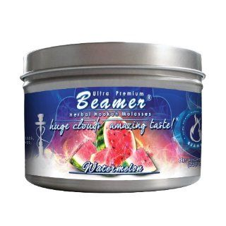 Watermelon Beamer� Ultra Premium Hookah Molasses 250 gram tin. Huge Clouds, Amazing Taste!� 100 % Tobacco, Nicotine & Tar Free but more taste than tobacco! Compares to Hookah Tobacco at a fraction of the price! GREAT TASTE, LOTS OF SMOKE & SMELLS G