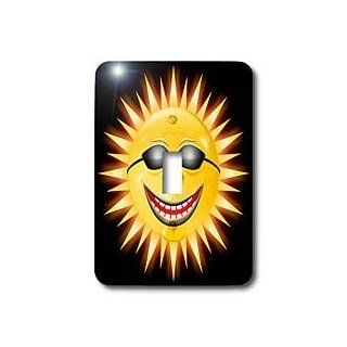 3dRose Lsp_18159_1 Smiling Sunshine A Happy Sunny Face Wearing Sunglasses with A Smile Single Toggle Switch   Switch Plates