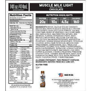 CytoSport Muscle Milk Light, Ready to Drink Shake, Chocolate, 14 Ounce, (Pack of 12): Health & Personal Care