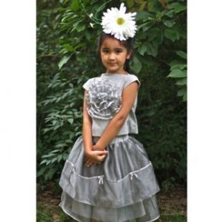 KidCuteTure Designer Silver Lucy 2pc Top Skirt Set Little Girls 16: KidCuteTure: Clothing