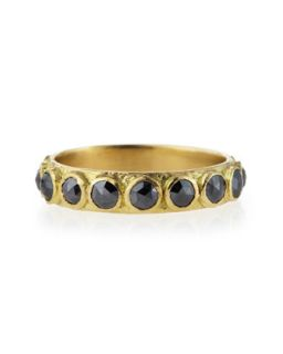 3mm Rose Cut Black Diamond Stackable Band Ring   Armenta   Black/Gold (6)