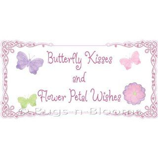 Butterfly kisses and flower petal wishes! Removable Vinyl Wall Sticker   stickers art sayings quote butterflies daisy flowers nursery girl room decor baby nursery girls decor decoration decorations decal: Baby
