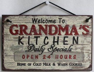 "5x8 Vintage Style Sign Saying, ""Welcome to GRANDMA''S KITCHEN Daily Specials OPEN 24 HOURS Home of Cold Milk & Warm Cookies"" Decorative Fun Universal Household Signs from Egbert's Treasures   Cookie Jar"