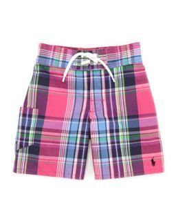 Tulum Plaid Swim Trunks, Pink/Multi, 2T 3T   Ralph Lauren Childrenswear